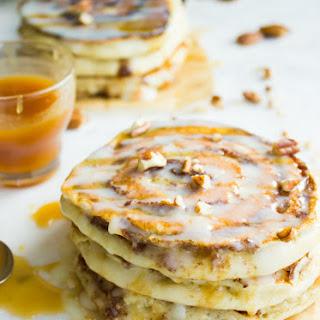 Banana Swirl Cinnamon Roll Pancakes