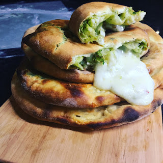 Green Smoked Almond and Cheese Naan