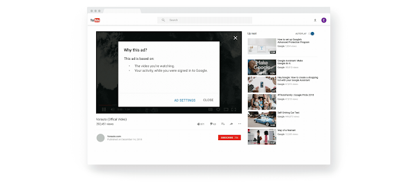 """YouTube video screen with """"Why this ad"""" called out"""