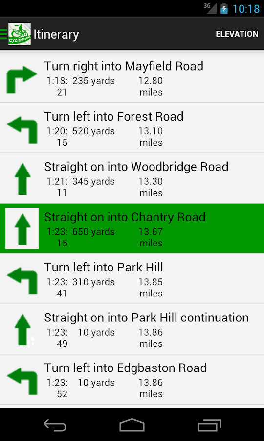 CycleStreets journey planner- screenshot