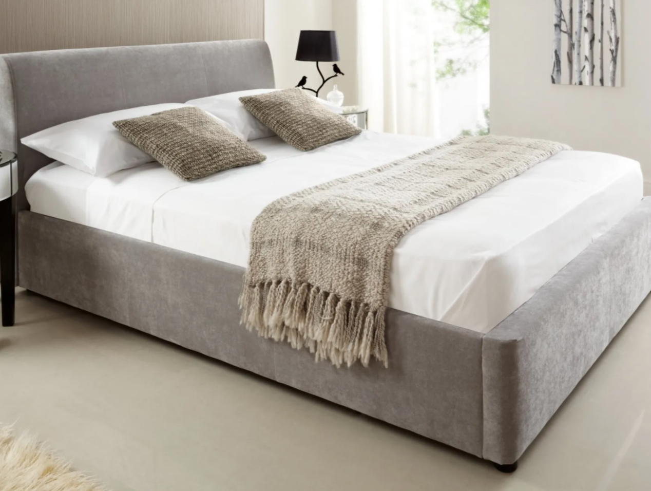 serenity upholstered ottoman bed in grey