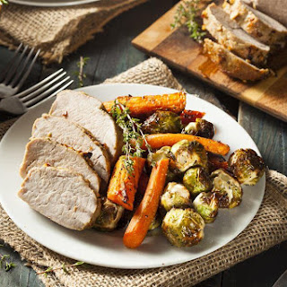 Slow Cooker Pork Tenderloin and Herb Roasted Vegetables.