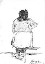 Photo: 背影2011.03.02鋼筆 女監同事帶了一名女收容人來醫療中心看診, 「文蔚!畫我吧!」她說。 「畫妳沒巿場啦!」我開玩笑著說。 我轉身,畫起了女收容人待診的背影…
