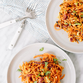 Chickpea-Bacon Carbonara with Spiralized Sweet Potatoes.