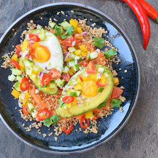 Fiery Dragon Eggs (aka Baked Avocado Eggs with Chilli Salsa).