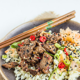 Spicy Miso Beef With Pickled Cucumber Salad