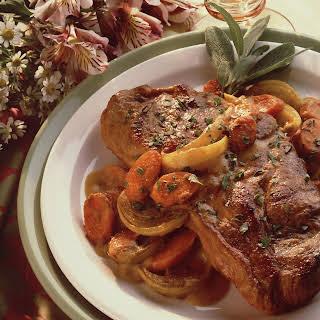 Pork Steaks with Curried Peanut Sauce.