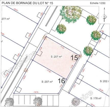 Vente terrain à bâtir 207 m2