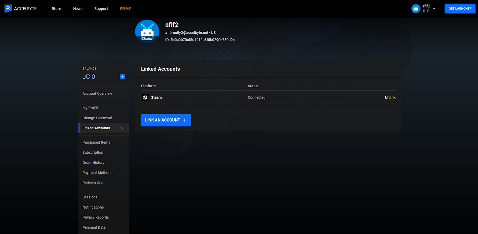 linking game player account to steam account
