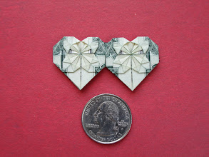 Photo: Model: Dollar Double-Heart;  Front shown here, this is a small model, it's one of my favorites to fold, this one came out really well;  Creator: unknown;  Folder: William Sattler;  1 dollar;  Source: Stephen Hecht's Origami Diagrams http://www.serve.com/hecht/origami/diags.htm