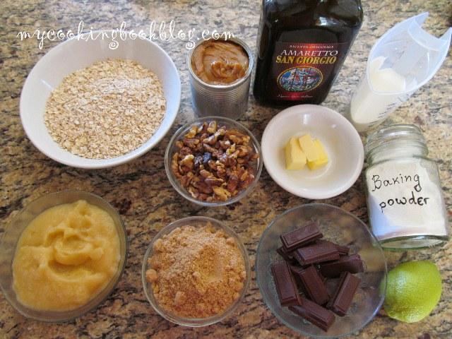 Сладкиш с овесени ядки, ябълково пюре, дулсе де лече и шоколадов ганаш