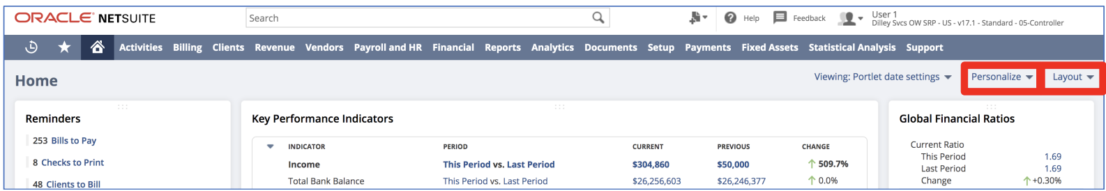 The personalize and layout menus highlighted in the upper right corner of NetSuite's home dashboard.