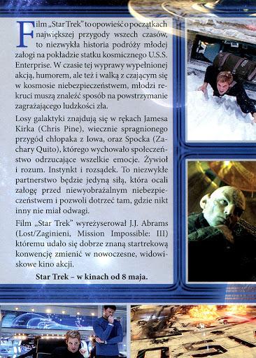 Tył ulotki filmu 'Star Trek'