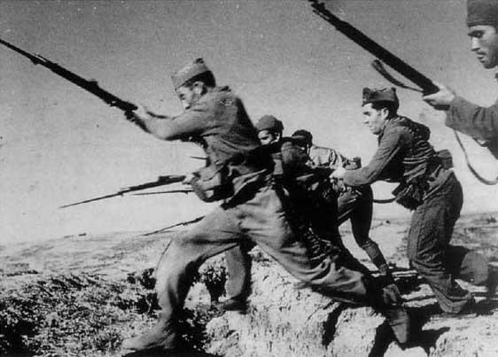 Imagen de la Batalla del Ebro, en la que Nicolás combatió.