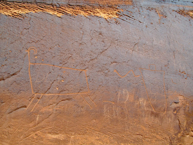 Bighorn sheep and snake guy petroglyphs