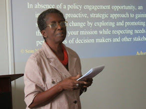 Photo: Philippa Forde - Former Permanent Secretary in Trinidad & Tobago, sharing her experiences with participants at the CPDC workshop on policy advocacy