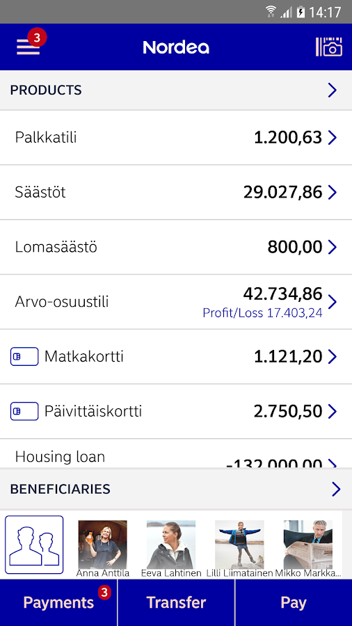 Nordea Mobile Bank – Finland- screenshot