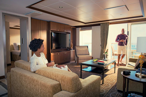celebrity-cruises-royal-suite.jpg - The Royal Suite on your Celebrity ship is a luxurious enclave with a veranda, whirlpool and separate living and dining areas.