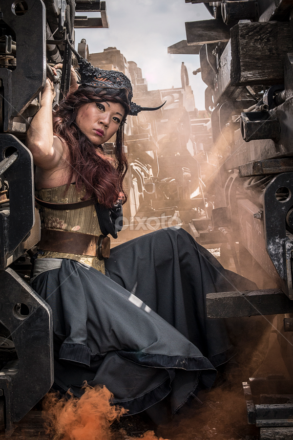 steampunk citywear by Amelia Falk - People Fashion ( expression, costumes, fashion, faces, illinois, location, clothing, lively, fight, grrr, retro, dystopia, romance, people, fantasy, mad max, scenes, fantastical, composition, chicago, interesting, leather, steampunk, groups, interaction, fun, couples, shapes, models, lines, bodies, bleakness, feelings )