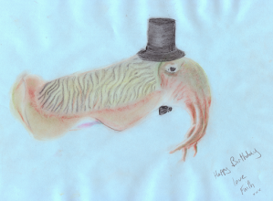 Photo: Faith's Cuttlefish in top hat and bow tie