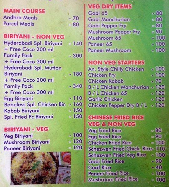 Sri Vasavi Restaurant menu 2