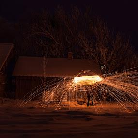 by Hendrik Mändla - Abstract Light Painting ( light painting, night, sparks, fire )