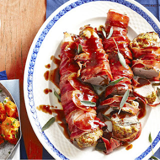 Roast Prosciutto-wrapped Pork With Fig Andfennel Glaze.