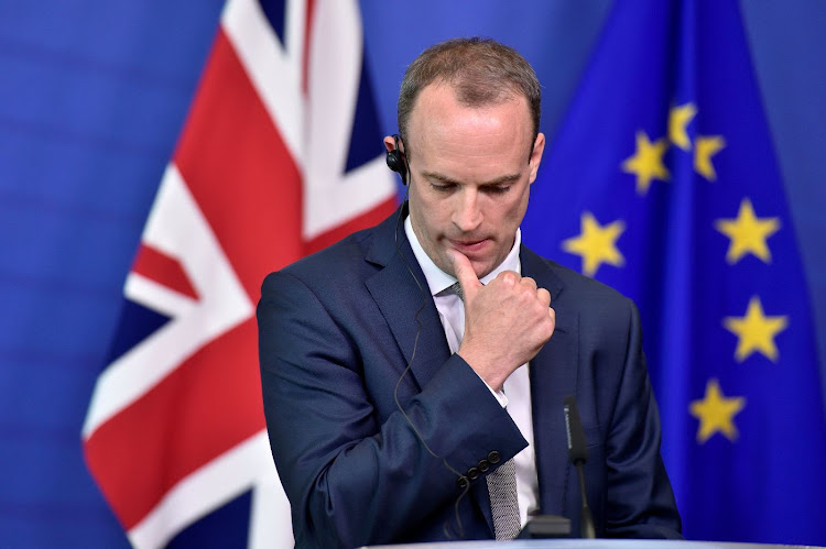Dominic Raab gestures during a press briefing after a meeting at the EU Commission headquarters in Brussels, Belgium, in this file photo taken on August 31 2018. Picture: REUTERS/ERIC VIDAL