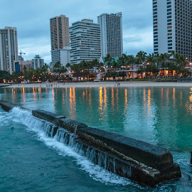 Morning At Waikiki Wall by Kathy Suttles - City,  Street & Park  Skylines