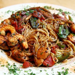 Spicy Caribbean Style Shrimp with Pasta.