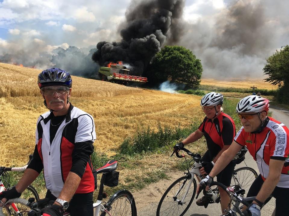 blazing combine harvester