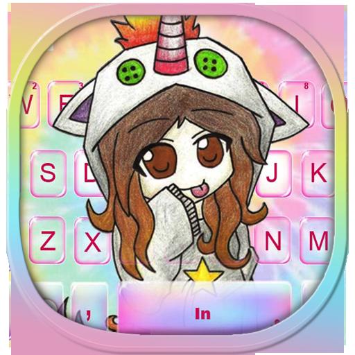 Tie Dye Girl Unicorn Keyboard Theme Icon