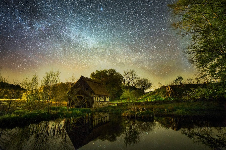 The old mill under the starry sky. by Jocke Mårtensson - Landscapes Starscapes (  )