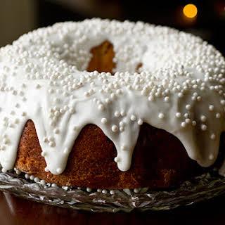 Cherry-Almond Winter Cake with Sour Cream Drizzle.