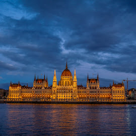 Hungarian Parliament Building - Sun Set  by Aamir DreamPix - Buildings & Architecture Architectural Detail ( sunset, budapest, riverside, parliament, night photography )