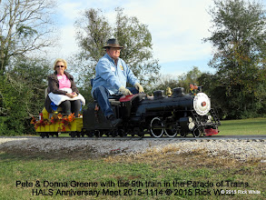 Photo: Pete & Donna Greene with the 9th train in the Parade of Trains.   HALS Anniversary Meet 2015-1114 © 2015 Rick White