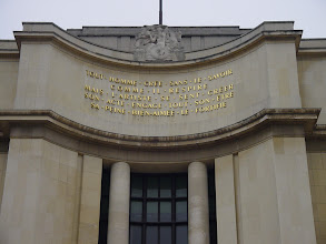 "Photo: An inscription on Le Palais de Chaillot. I translate as ""Each man creates without knowing it, just as he breathes, but the artist feels in creating his work and engages all his beloved being and his pain to strengthen it."""