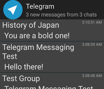Widget de telegrama não oficial