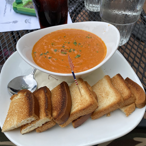Tomato basil soup with gluten free bread.