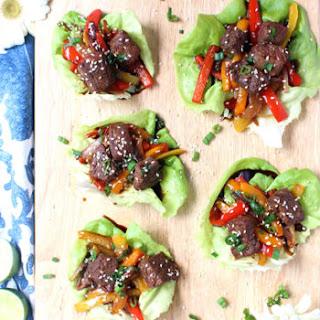 20-Minute Korean Beef Lettuce Wraps W/ Rainbow Veggie Slaw Recipe