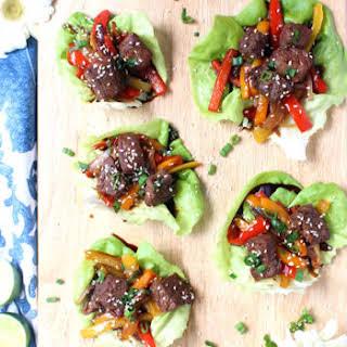 20-Minute Korean Beef Lettuce Wraps w/ Rainbow Veggie Slaw.