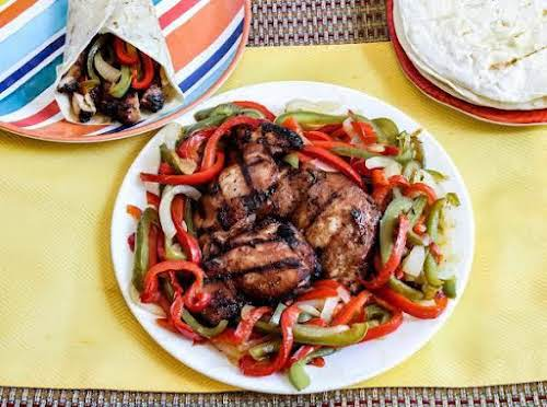 """Sweet and Sour Grilled Teriyaki Chicken (fajitas) """"This is a fantastic summer..."""