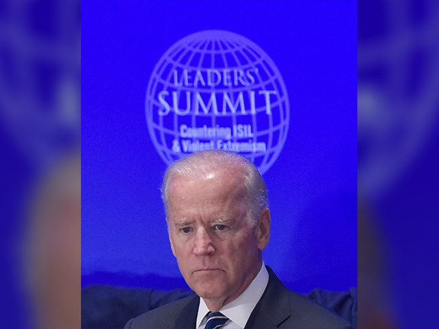 US Vice President Joe Biden attends the Leaders Summit on Countering ISIL and Countering Violent Extremism at the United Nations in New York on September 29, 2015. AFP PHOTO/MANDEL NGAN (Photo credit should read MANDEL NGAN/AFP/Getty Images)