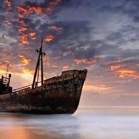 The Dark Traveler II  by Mary Kay - Landscapes Waterscapes ( dimitrios, gythio, shipwreck, greece, maria kaimaki, justeline, sunrise )