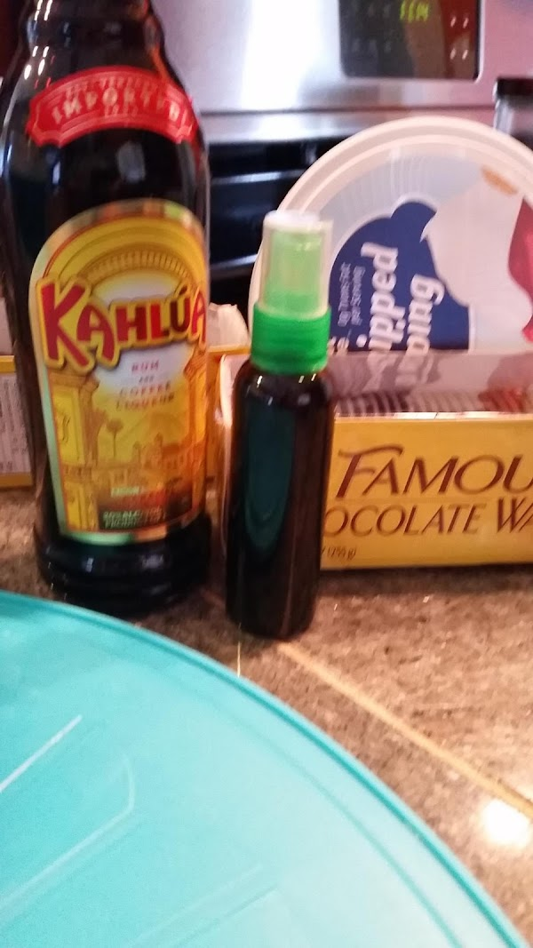 Fill a small spray bottle with Kahlua. Mix with a small amount of water...