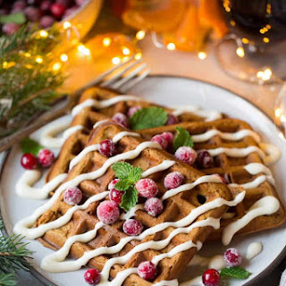 Gingerbread Waffles with Cream Cheese Glaze.