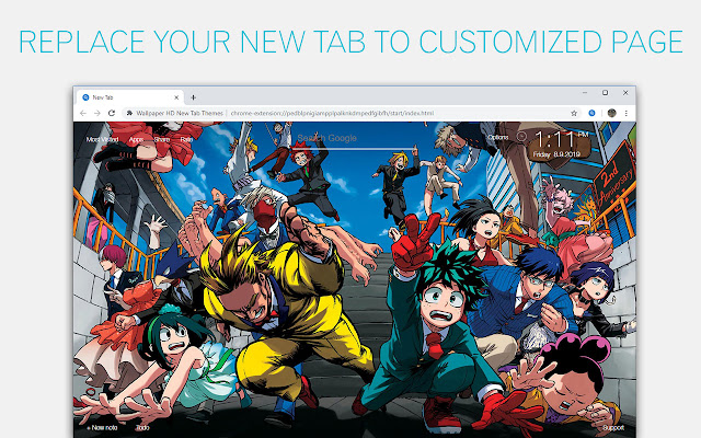 Boku No Hero Academia Custom New Tab