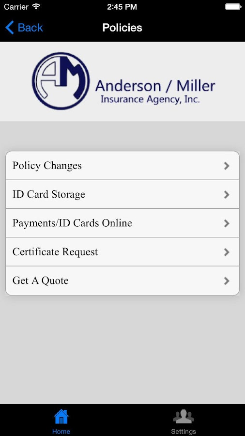 Anderson/Miller Ins Agency- screenshot