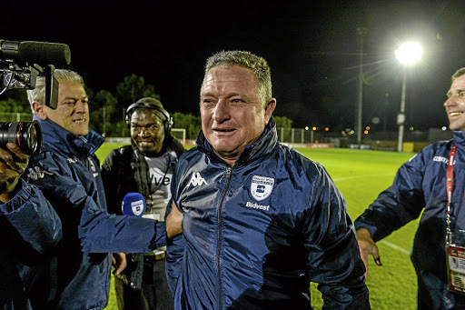 Back on top: Gavin Hunt was overcome when he realised Bidvest Wits had won the championship on Wednesday night. Picture: SYDNEY SESHIBEDI/GALLO IMAGES