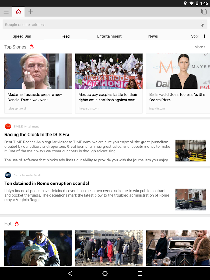 Opera browser - latest news- screenshot